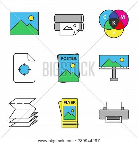 Printing Color Icons Set Polygraphy And Typography Digital Image Printers Cmyk Model Registration Mark Poster Billboard Folded Paper