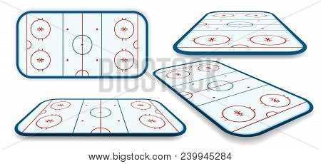 Detailed Illustration Set Of A Ice Hockey Rink, Field, Court With Different Perspectives, Eps10 Vect