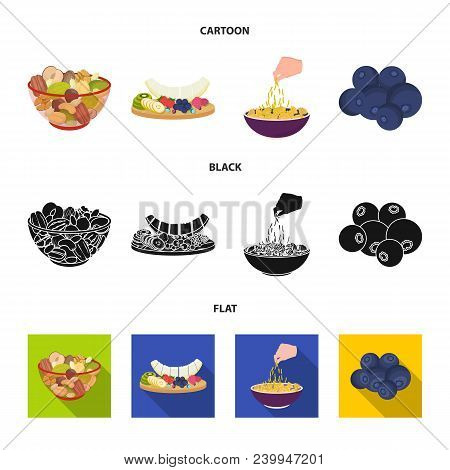 Assorted Nuts, Fruits And Other Food. Food Set Collection Icons In Cartoon, Black, Flat Style Vector
