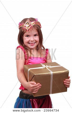 Little girl with present