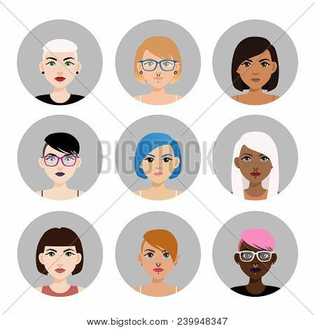 Set Of Multicultural Girl Avatars With Piercing On White Isolated Background. Icons Of Diverse Women