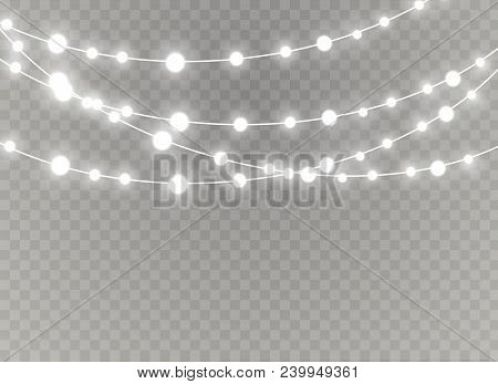 Christmas Lights Isolated Realistic Design Elements. Glowing Lights For Xmas Holiday Greeting Card D