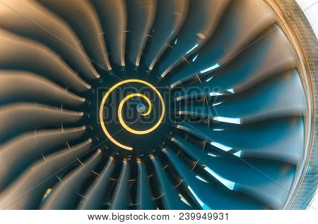 Background Turbine Blades Rotate Jet Engine Aircraft Close Up
