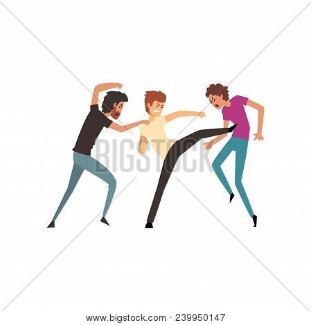 Men fighting and quarrelling, aggressive and violent behavior vector Illustration isolated on a white background. poster
