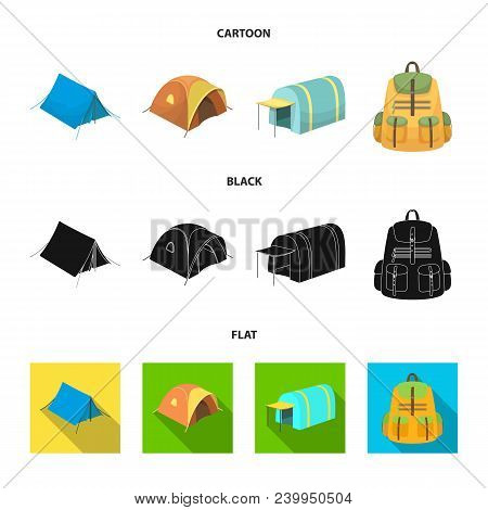 Backpack And Other Kinds Of Tents.tent Set Collection Icons In Cartoon, Black, Flat Style Vector Sym