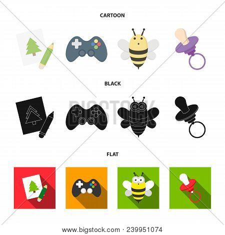 Picture, Dzhostik, Bee, Nipple.toys Set Collection Icons In Cartoon, Black, Flat Style Vector Symbol