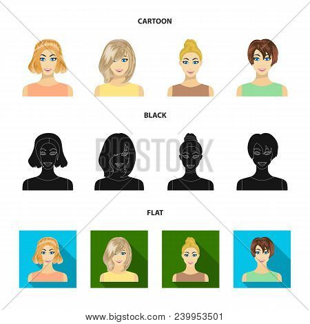 Types Of Female Hairstyles Cartoon, Black, Flat Icons In Set Collection For Design. Appearance Of A