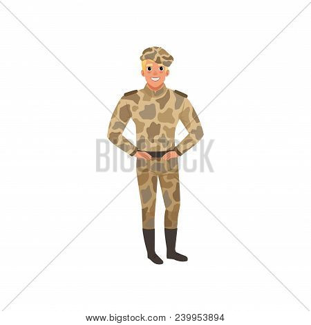 Handsome Man In Camouflage Uniform. Commander Of Infantry. Cartoon Male Character With Smiling Face