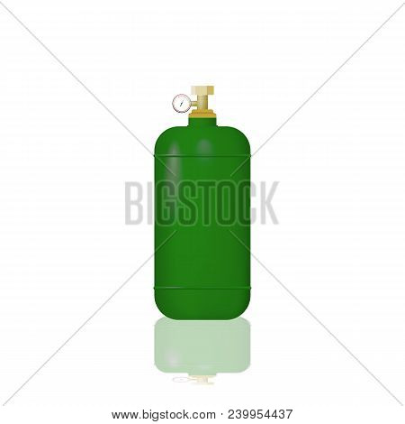 Green Cylinder With Liquefied Gas. Hydrogen Vector Illustration.