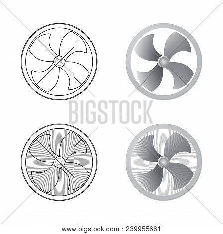 Set of fans. Four blades. Schematic and realistic image. Vector illustration. poster
