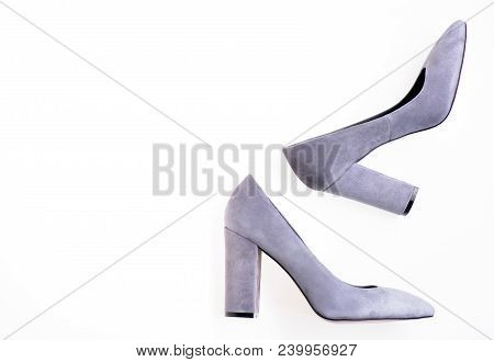 Fashionable Shoes Concept. Pair Of Fashionable High Heeled Shoes. Fashion Womens Shoes With Wide Hee