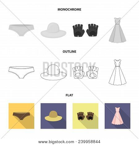 Panties, Gloves, Dress, Hat. Clothing Set Collection Icons In Flat, Outline, Monochrome Style Vector