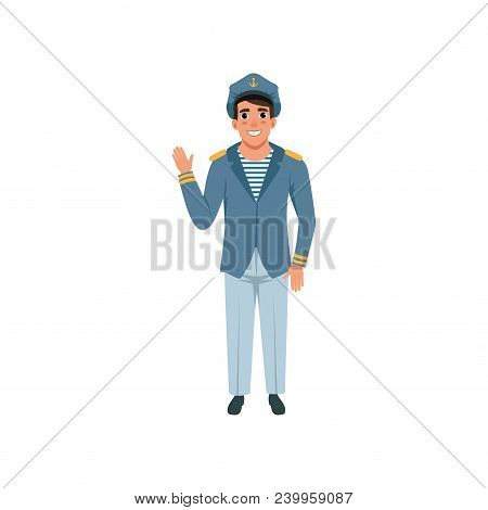 Cheerful Navy Captain Waving Hand. Naval Officer In Formal Wear. Young Man In Uniform: Blue Jacket,