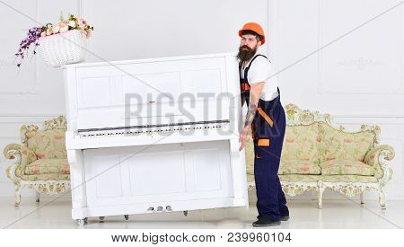 Loader moves piano instrument. Man with beard worker in helmet and overalls lifts up, efforts to move piano, white background. Heavy loads concept. Courier delivers furniture, move out, relocation. poster
