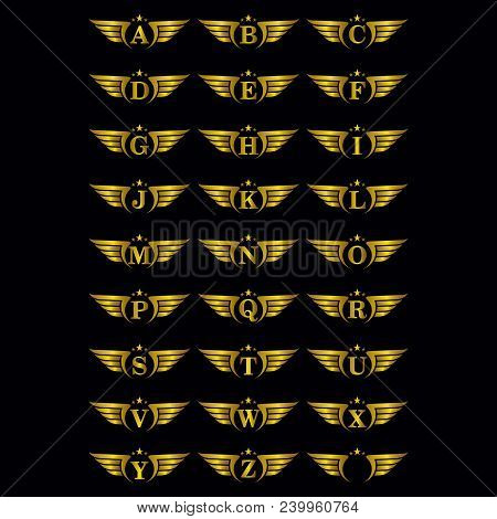 Alphabet Gold Wing Logo - Golden Car Wing Logo Template. Company Logo Gold Wings, Winged Label Emble