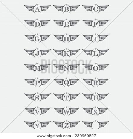 Alphabet Wing Logo, Car Wing Logo Template. Company Logo Gold Wing, Winged Label Emblem, Vector Illu