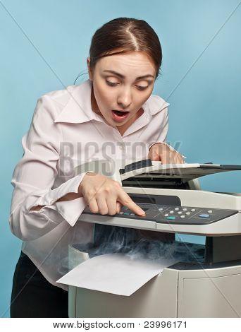 Surprised Woman With Smoking Copier