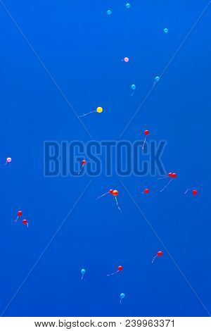 Color Helium Air Balloons Flying To The Clear Blue Sky. Holiday Bright Background