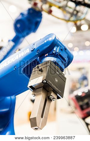 Hannover, Germany - April, 2018: Yaskawa Robot Arm On Messe Fair In Hannover, Germany