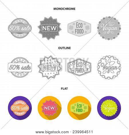 Limited Edition, Vintage, Mega Discont, Dig Sale.label, Set Collection Icons In Flat, Outline, Monoc