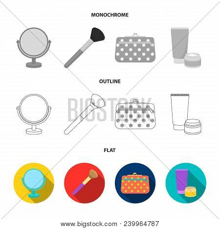 Nail File, Scissors For Nails, Perfume, Powder With A Brush.makeup Set Collection Icons In Flat, Out