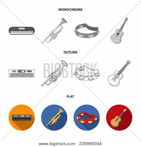 Electro Organ, Trumpet, Tambourine, String Guitar. Musical Instruments Set Collection Icons In Flat,