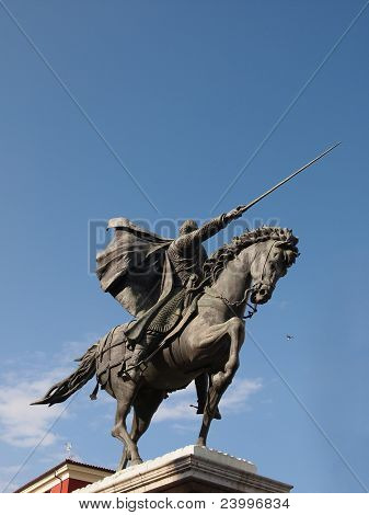 Famous historic hero of Spain: El Cid also known as Rodrigo (or Ruy) Diaz de Vivar. Statue in Burgos town. poster