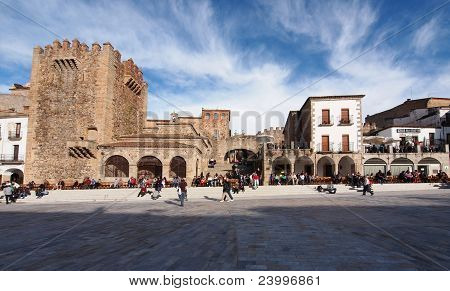 Bujaco Tower, Freedom Chapel And Ark Of The Start In Main Square In Caceres, Spain