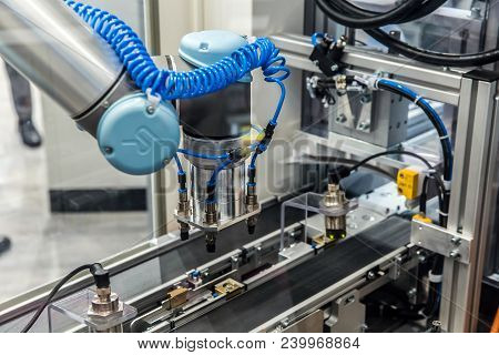 Hannover, Germany - April, 2018: Universal Robots Presenting Examples Show How Flexible And Individu
