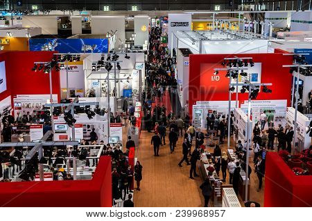 Hannover, Germany - April, 2018: Visitors In Exhibition Stands And Booths On Messe Fair In Hannover,