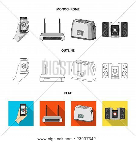 Home Appliances And Equipment Flat, Outline, Monochrome Icons In Set Collection For Design.modern Ho