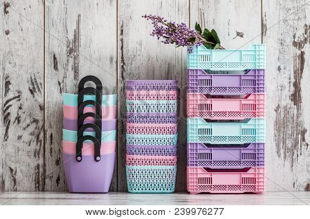 Miniature Colorful Plastic Cases For Household Use On White Background