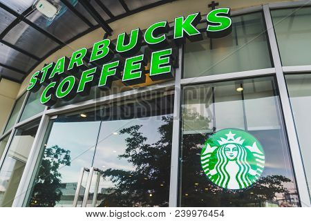 Bangkok, Thailand - May 6, 2018: Starbucks Coffee Brand And Logo At A Branch In Bangkok, Thailand. S