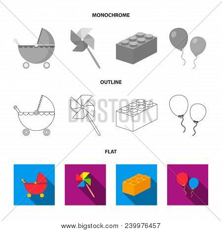 Stroller, Windmill, Lego, Balloons.toys Set Collection Icons In Flat, Outline, Monochrome Style Vect