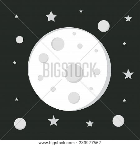 Moon In Space, Astronomy Space, Moon Sign, Cartoon Moon Image, Scientific Astronomy Study, Flat Styl