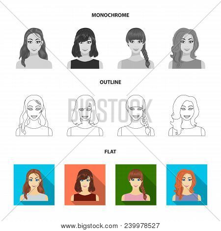 Types Of Female Hairstyles Flat, Outline, Monochrome Icons In Set Collection For Design. Appearance