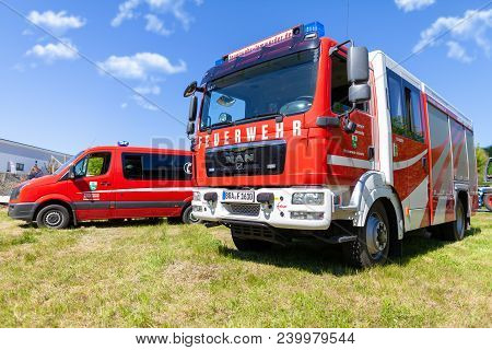 Delmenhorst / Germany - May 6, 2018: German Fire Engine From Fire Department Lemwerder Stands On A D