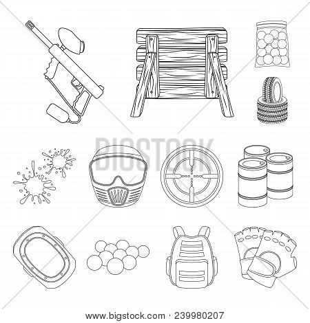 Paintball, Team Game Outline Icons In Set Collection For Design. Equipment And Outfit Vector Symbol