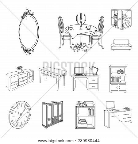 Furniture And Interior Outline Icons In Set Collection For Design. Home Furnishings Vector Isometric