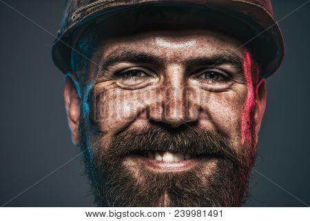 Portrait Of Handsome Engineer. Construction Worker In Hard Hat. Architect, Worker, Engineer - Work.