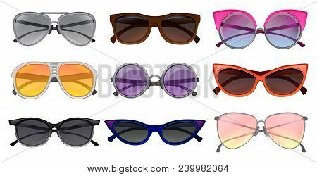 Collection Of Different Types Sunglasses. Stylish Protective Eyewear. Fashion Unisex Spectacles. Gra