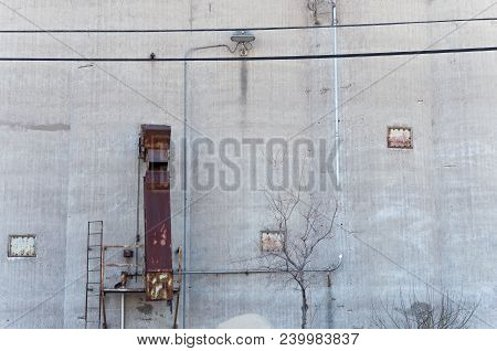 External Wall Of Grain Storage Silo And Chute