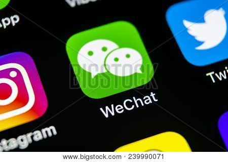 Sankt-petersburg, Russia, May 10, 2018: Wechat Messenger Application Icon On Apple Iphone X Smartpho