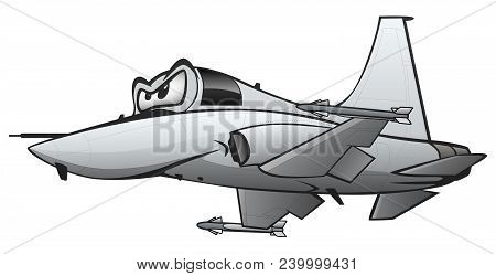 Military Fighter Jet Airplane Cartoon Vector Illustration