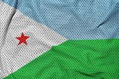 Djibouti flag printed on a polyester nylon sportswear mesh fabric with some folds poster
