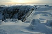 Panorama of Cairngorm Mountains in winter The Highlands of Scotland. poster