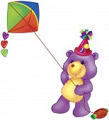 a digitally rendered violet bear with party hat poster