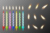 Vector 3d realistic different birthday party colofful wax paraffin burning cake candle and different flame of a candle icon set closeup isolated on transparency grid background. Design template, clipart for graphics. poster