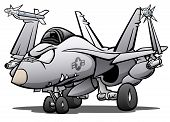 Military Naval Fighter Jet Airplane Cartoon Vector Illustration poster