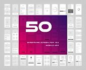 50 in 1 UI kits. Wireframes screens for your mobile app. GUI template on the topic of singup login . Development interface with UX design. Vector illustration. Eps 10. poster